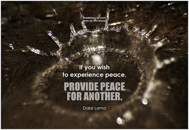 Dalai Lama If you wish to experience peace, provide peace for another