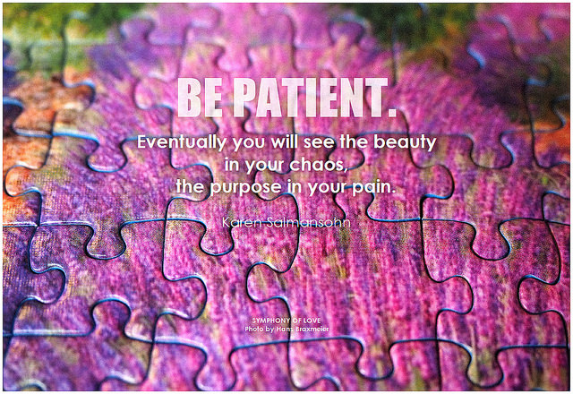 Karen Salmansohn Be patient. Eventually you will see the beauty in your chaos, the purpose in your pain