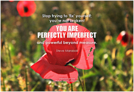 Steve Maraboli Stop trying to 'fix' yourself, you're not broken. You are perfectly imperfect and powerful beyond measure
